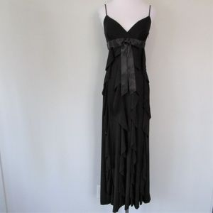 NWT CACHE Black Ruffle Bow Formal Cocktail Gown 2
